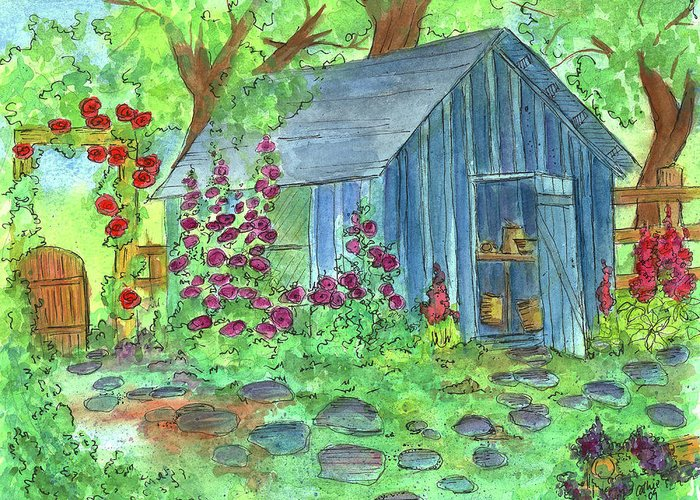 Potting Shed Watercolor Landscape Greeting Card featuring the painting Garden Potting Shed by Cathie Richardson