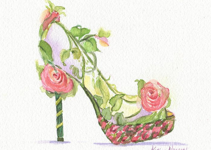 Art Greeting Card featuring the painting Garden Shoe by Kathy Nesseth