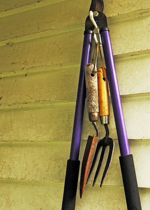 Tools Greeting Card featuring the photograph Gardening Tools by Kenneth William Caleno
