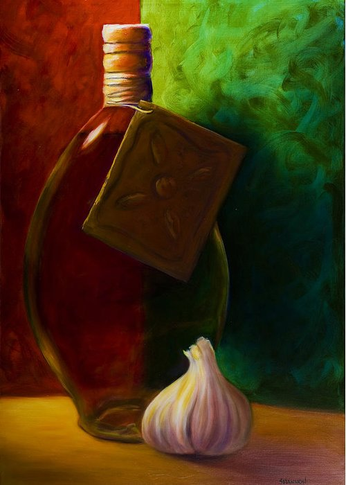 Shannon Grissom Greeting Card featuring the painting Garlic And Oil by Shannon Grissom