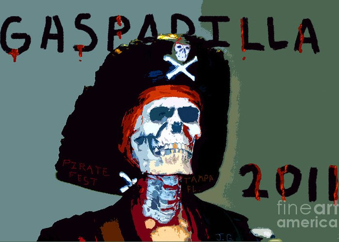 Gasparilla Pirate Festival Greeting Card featuring the painting Gasparilla 2011 Work Number Two by David Lee Thompson