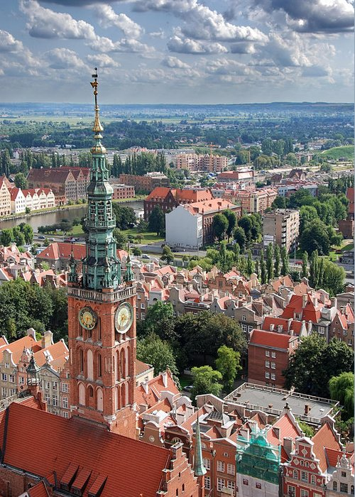 Architecture Greeting Card featuring the photograph Gdansk by Jaroslaw Grudzinski