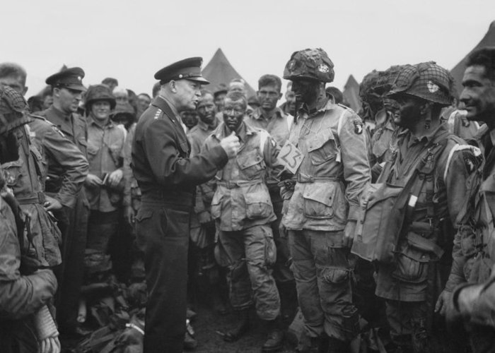 101st Airborne Division Greeting Card featuring the photograph General Eisenhower On D-day by War Is Hell Store