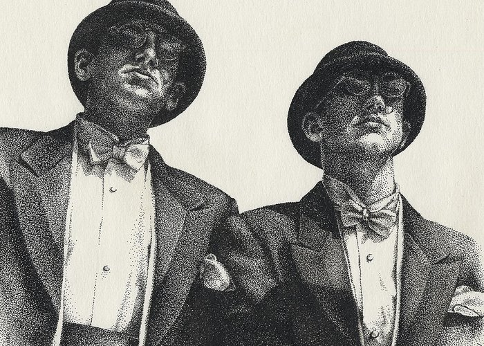 Male Greeting Card featuring the drawing Gents by Amy S Turner