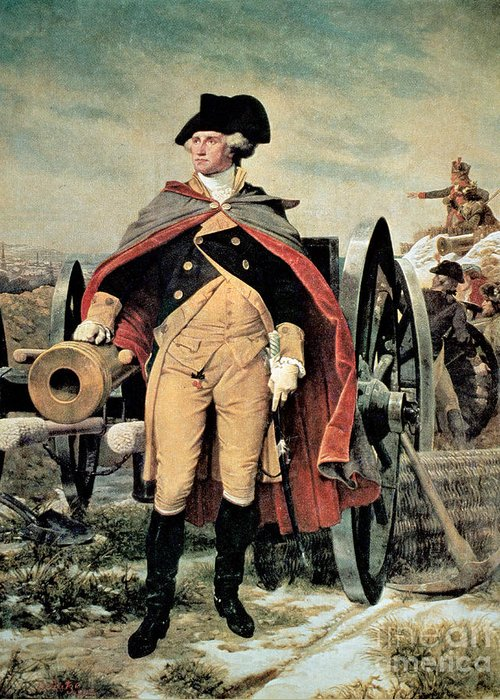 George Washington At Dorchester Heights Greeting Card featuring the painting George Washington At Dorchester Heights by Emanuel Gottlieb Leutze