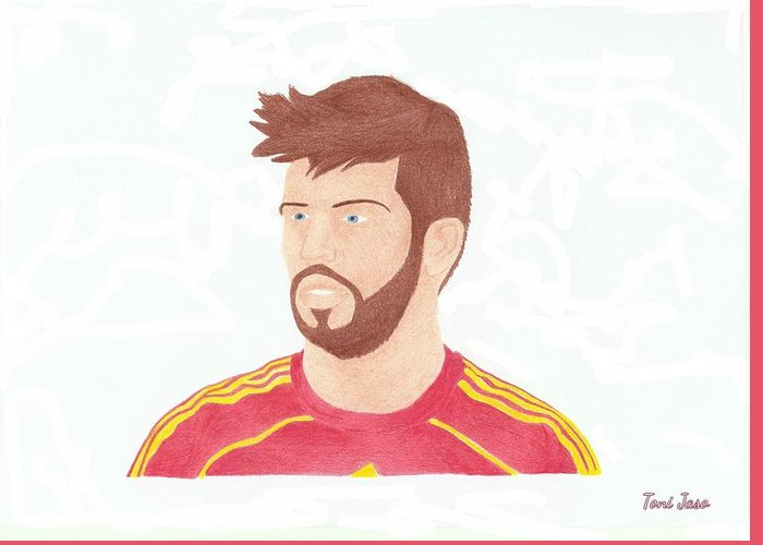 Gerard Pique Greeting Card featuring the drawing Gerard Pique by Toni Jaso