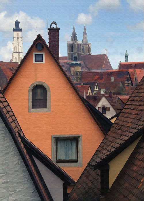 Architecture Greeting Card featuring the photograph German Rooftops by Sharon Foster