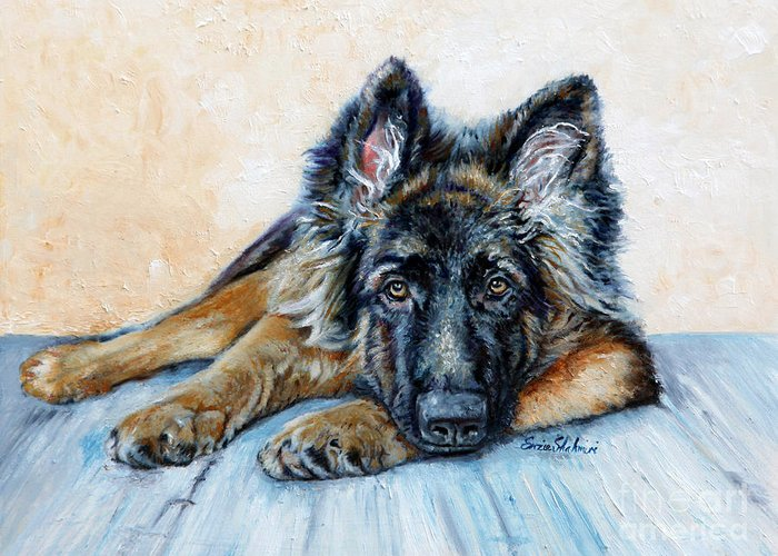 Animals Greeting Card featuring the painting German Shepherd by Enzie Shahmiri