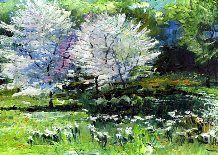 Oil Greeting Card featuring the painting Germany Baden-baden Spring 2 by Yuriy Shevchuk