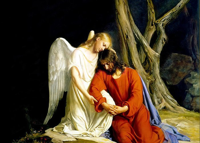 Carl Bloch Greeting Card featuring the painting Gethsemane by Carl Bloch