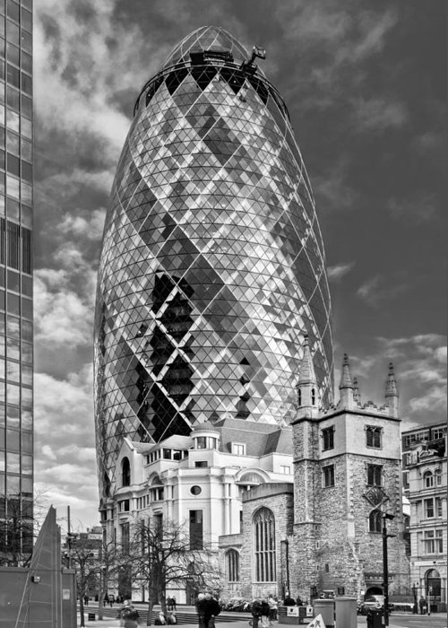 City Of London Greeting Card featuring the photograph Gherkin And St Andrew's Black And White by Gary Eason