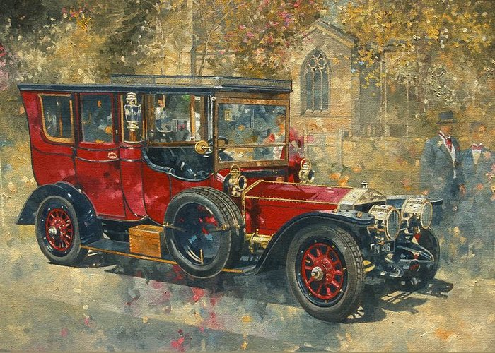 Phantom; Rolls Royce; Car; Vehicle; Vintage; Automobile; Event; Occasion; Church; Countryside; Marriage; Wedding; Rural; Classic Cars; Vintage Car; Red Car; Old Timer. Car Greeting Card featuring the painting Ghost - Hawton by Peter Miller