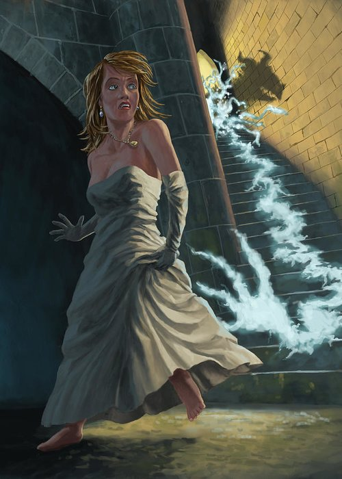 Princess Greeting Card featuring the painting Ghost Chasing Princess In Dark Dungeon by Martin Davey
