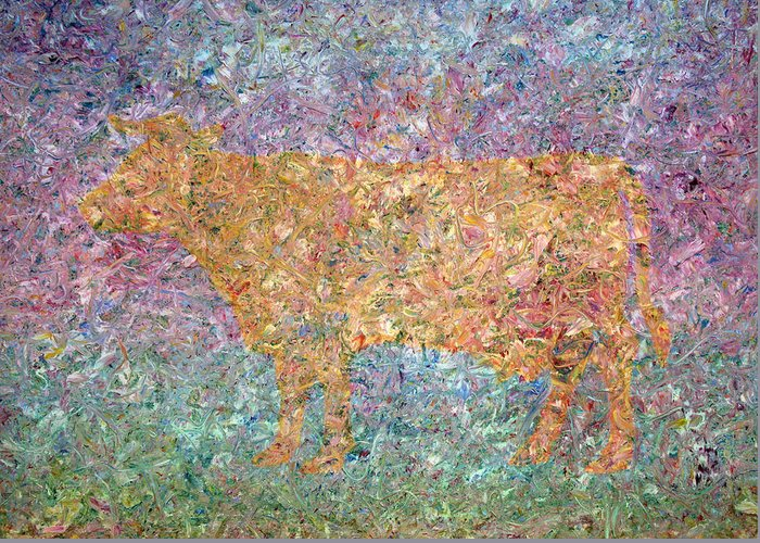 Abstract Greeting Card featuring the painting Ghost Of A Cow by James W Johnson