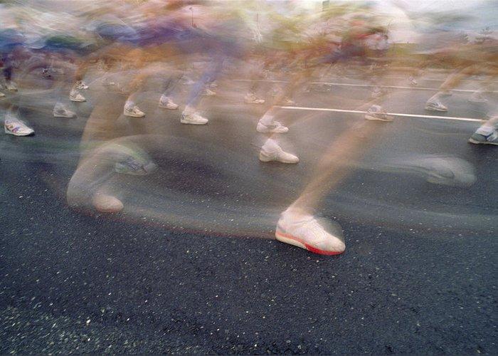 Feet; Foot; Shoe; Shoes; Run; Running; Runner; Runners; Race; Foot Race; Marathon; Effort; Fast; Goal; Goals; Destination; Destinations; 10k; Legs; Racing; Exercise; Fitness; Aerobic; Aerobics; Balance Greeting Card featuring the photograph Ghost Race by Gerard Fritz