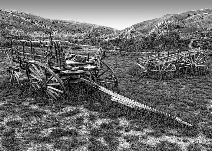 Wagons Greeting Card featuring the photograph Ghost Wagons Of Bannack Montana by Daniel Hagerman