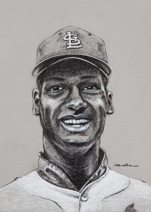 Bob Gibson Greeting Card featuring the drawing Gibby by Jim Wetherington