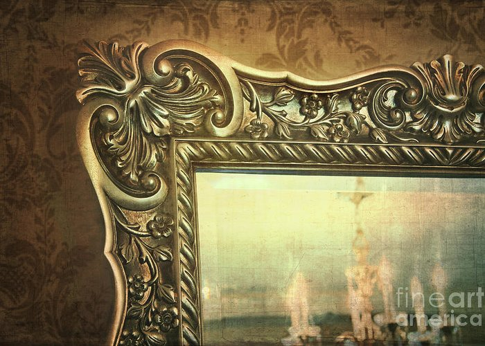 Architecture Greeting Card featuring the photograph Gilded Mirror Reflection Of Chandelier by Sandra Cunningham