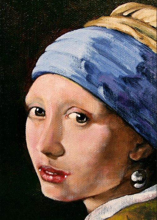 Portrait Greeting Card featuring the painting Girl With A Pearl Earring A Reproduction Of Vermeer by Joan Garcia