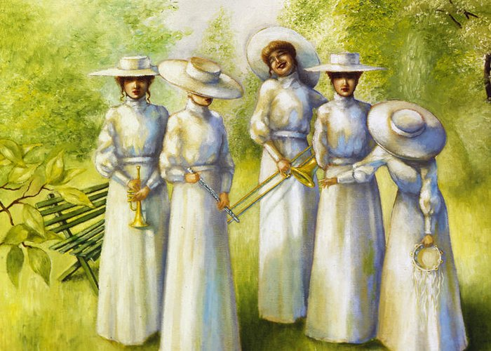 Girls In The Band Greeting Card featuring the painting Girls In The Band by Jane Whiting Chrzanoska