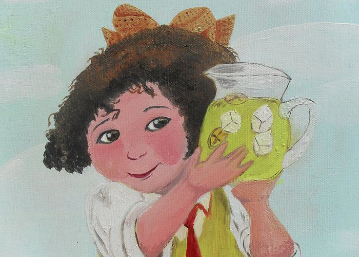 Acrylic Greeting Card featuring the painting Girls With Lemonade by M Valeriano