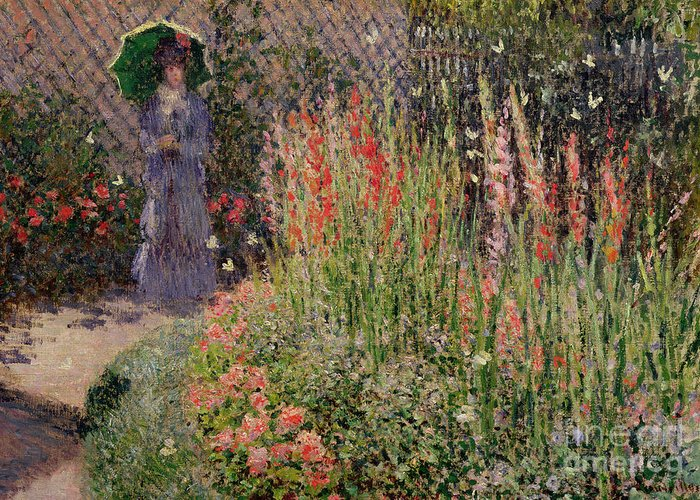 Gladioli Greeting Card featuring the painting Gladioli by Claude Monet