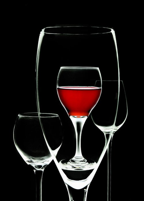 Wine Greeting Card featuring the photograph Glass Of Wine In Glass by Tom Mc Nemar