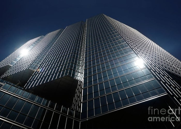 Office Greeting Card featuring the photograph Glass Office Building by Oleksiy Maksymenko