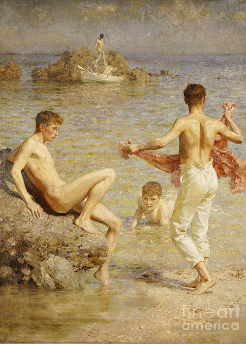 Male; Nude; Bather; Bathers; Sea; Seashore; Shore; Playing; Playful; Bathing; Rowing; Boat; Summer; Leisure; Relaxing; Relaxation; Boys; Youth; Youths; Henry Scott Tuke Greeting Card featuring the painting Gleaming Waters by Henry Scott Tuke