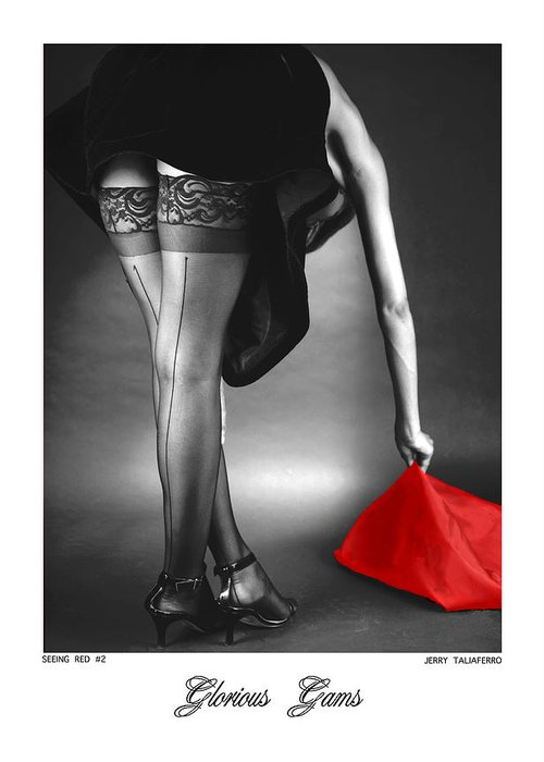 Figure Greeting Card featuring the photograph Glorious Gams - Seeing Red by Jerry Taliaferro