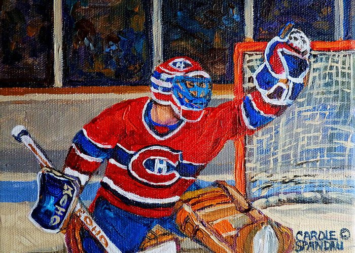 Hockey Greeting Card featuring the painting Goalie Makes The Save Stanley Cup Playoffs by Carole Spandau