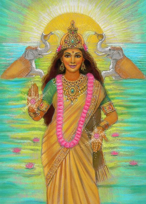 Lakshmi Greeting Card featuring the painting Goddess Lakshmi by Sue Halstenberg