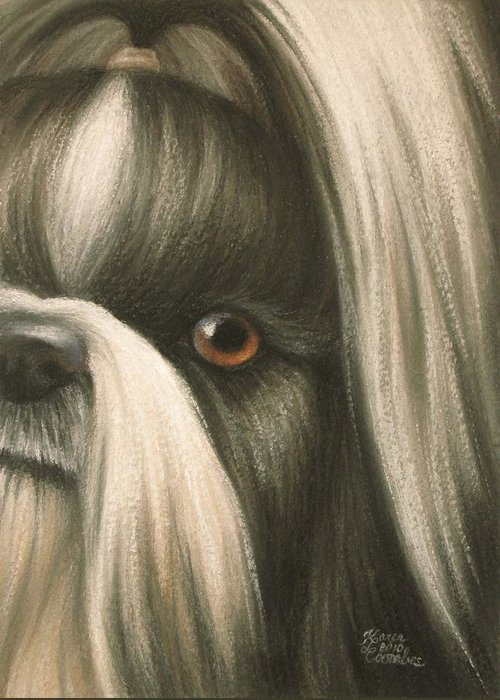 Dog Greeting Card featuring the pastel Goggie Shih Tzu by Karen Coombes