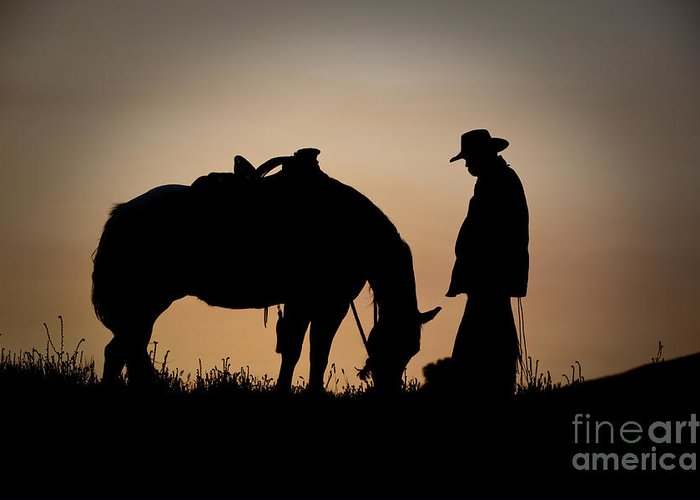 Cowboy And Horse Greeting Card featuring the photograph Going Home by Sandra Bronstein