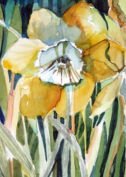Daffodil Greeting Card featuring the painting Golden Daffodil by Mindy Newman