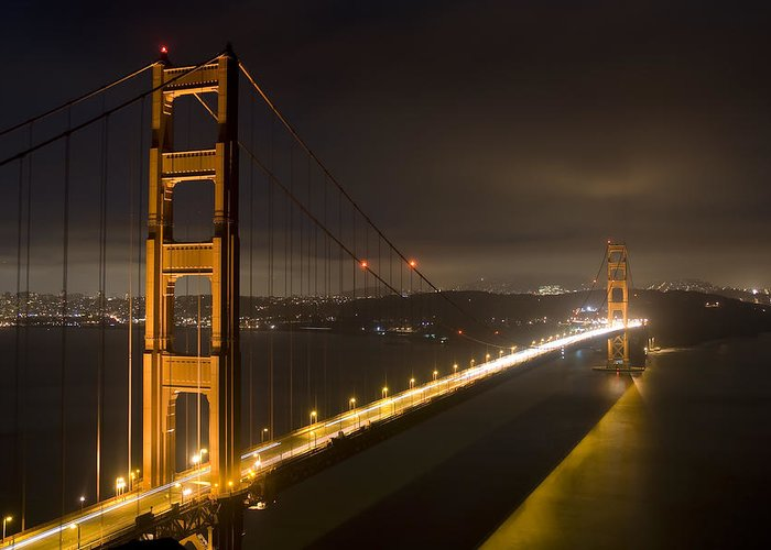 golden Gate Bridge Greeting Card featuring the photograph Golden Gate At Night by Mike Irwin