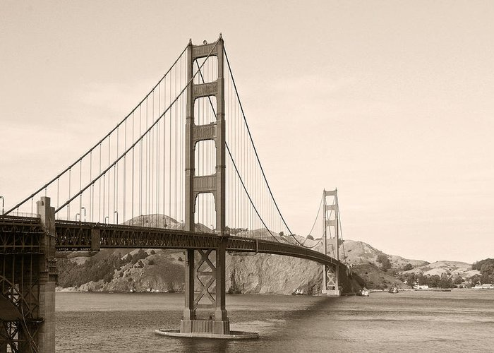 Golden Gate Bridge Greeting Card featuring the photograph Golden Gate Bridge San Francisco - A Thirty-five Million Dollar Steel Harp by Christine Till