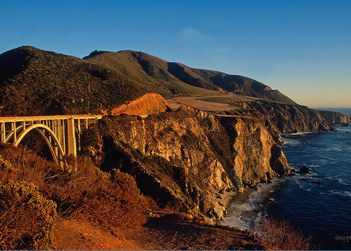 Calfornia Greeting Card featuring the photograph Golden Glow On Big Sur 2 by Kathy Yates