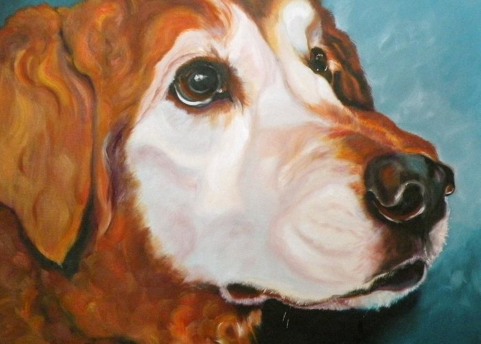 Dogs Greeting Card featuring the painting Golden Grandpa by Susan A Becker
