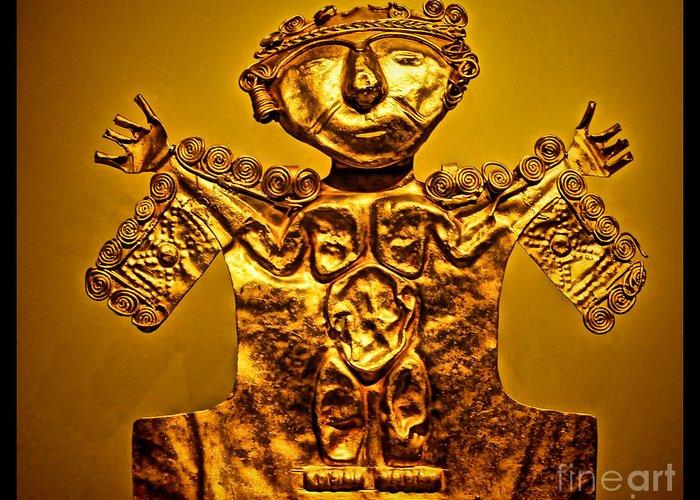Golden Statue Greeting Card featuring the photograph Golden Priest Statue by Alexandra Jordankova