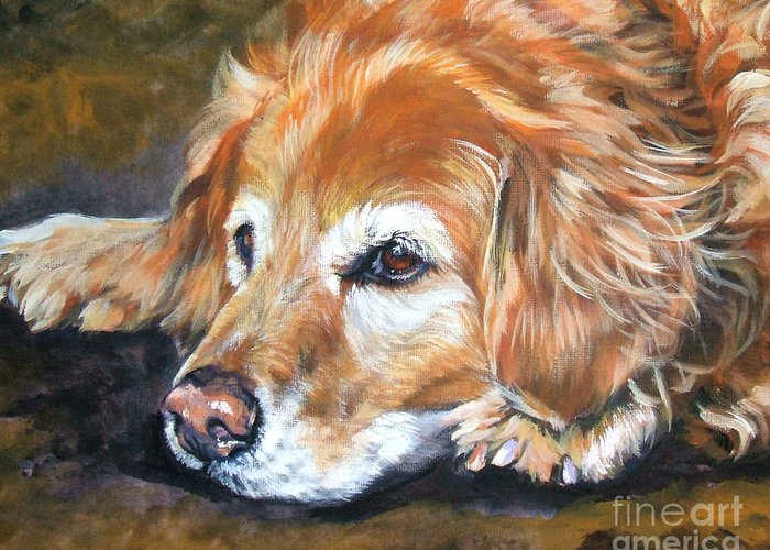 Golden Retriever Greeting Card featuring the painting Golden Retriever Senior by Lee Ann Shepard