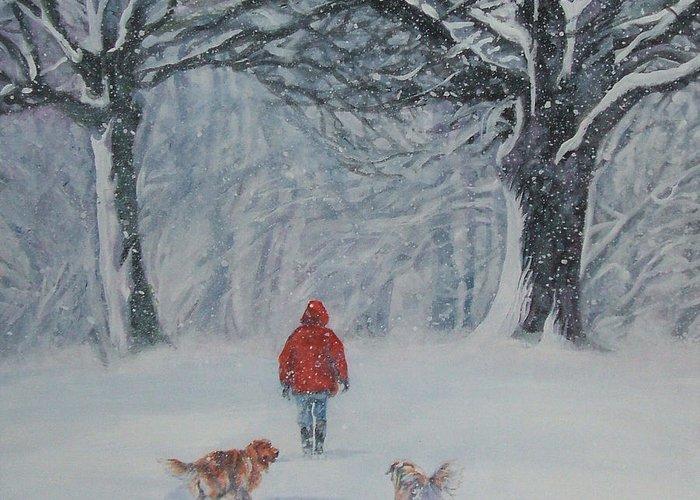 Golden Retriever Greeting Card featuring the painting Golden Retriever Winter Walk by Lee Ann Shepard