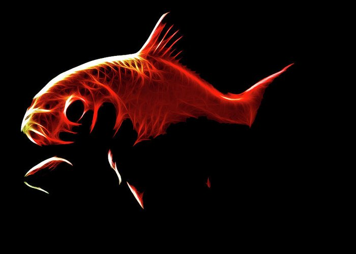 Goldfish Greeting Card featuring the digital art Goldfish 1 by Tilly Williams