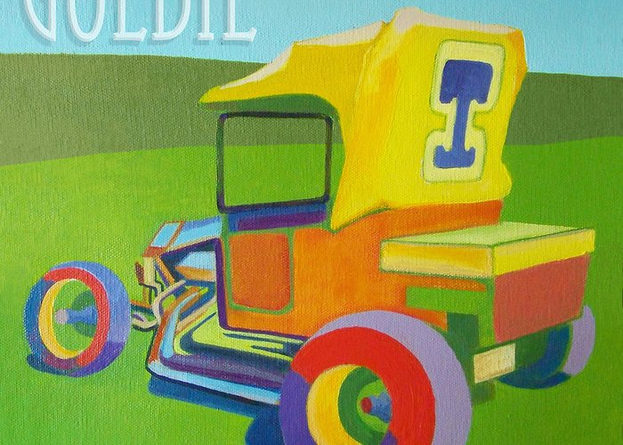 Ford Greeting Card featuring the painting Goldie Model T by Evie Cook