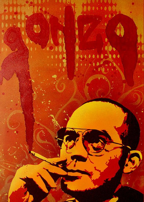 Gonzo Greeting Card featuring the painting Gonzo - Hunter S. Thompson by Tai Taeoalii