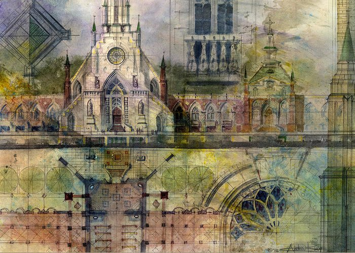 Gothic Greeting Card featuring the painting Gothic by Andrew King