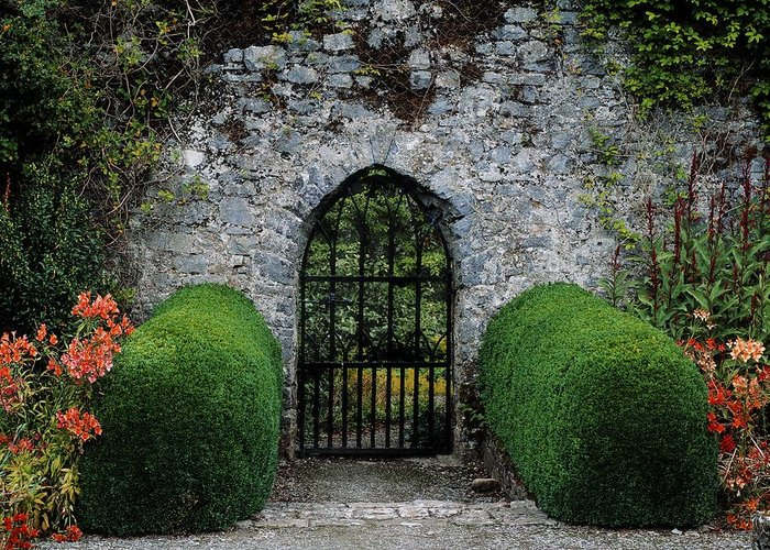 Architecture Greeting Card featuring the photograph Gothic Entrance Gate, Walled Garden by The Irish Image Collection