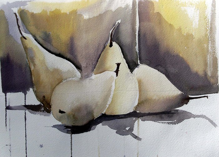 Watercolor Greeting Card featuring the painting Graceful Pears by Mindy Newman