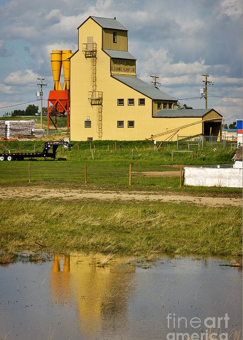 Travel Greeting Card featuring the photograph Grain Elevator In Balzac Alberta by Louise Heusinkveld