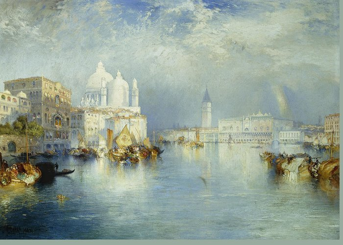 American Artist; Architectural; Architectural Feature; Blue; Boats; Buildings; Building Exteriors; Bystander; Calm; City;cloud; Cloudy; Color; Daytime; Docked; Dome; Europe; Grand Canal; Hudson River School;italy; Landmark; Monument; Moored; Oil Painting; Outdoors; Peaceful; People; Quiet; Reflection; Romantic Art; Romantic Era; Romanticism; Saint Mary Of Health; Santa Maria Della Salute; Sky; Stationary; Still; Tower; Tranquil; Urban; Venezia; Venice; Water Transport; Water Vessel; White Greeting Card featuring the painting Grand Canal Venice by Thomas Moran